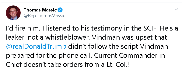 Thomas Massie tweet, supporting Trump's firing of Lt. Col Alexander Vindman