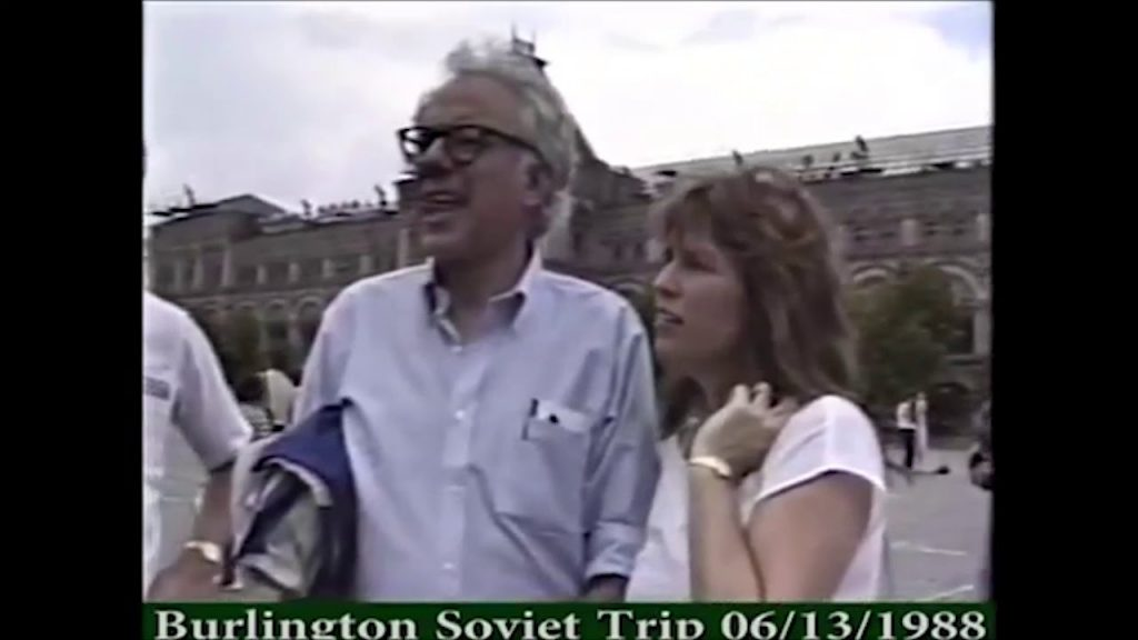 still video image of Bernie Sanders and wife Jane during their 1988 visit to the Soviet Union