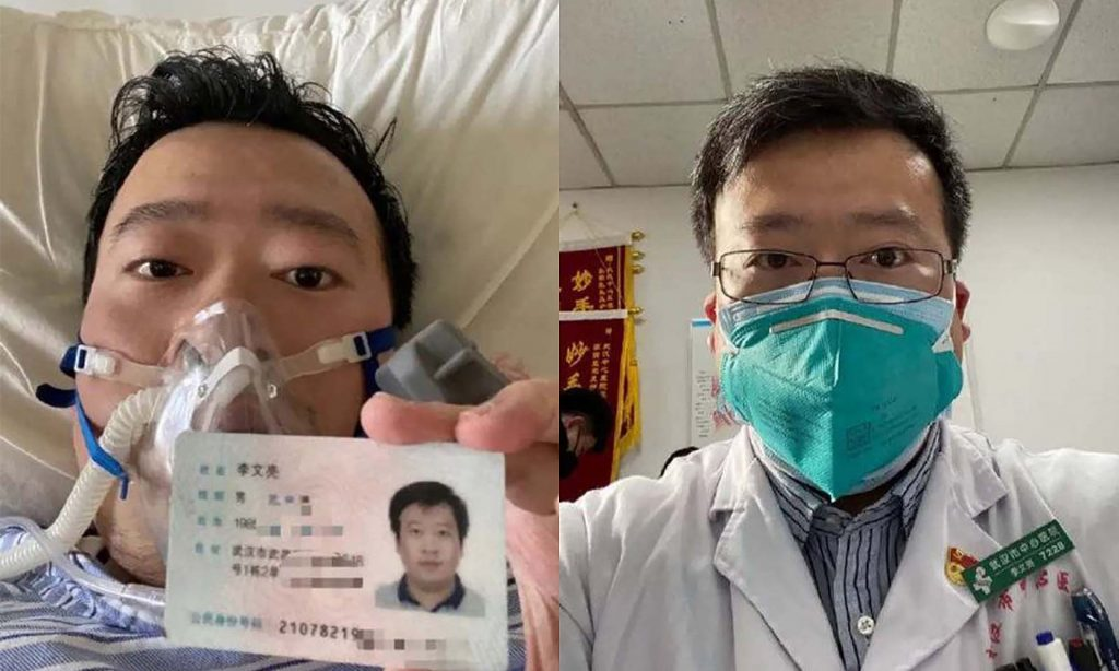 photo of Chinese Doctor Li Wenliang, who was arrested by the Chinese government for relaying accurate information to the public about the gravity and extent of the Coronavirus outbreak.