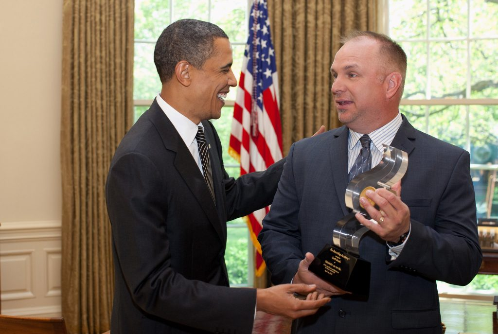 Country star Garth Brooks meeting with former President Barack Obama in the Oval Office