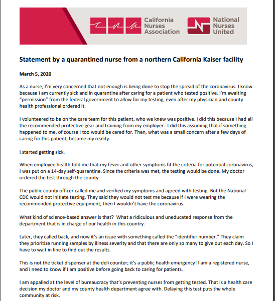 copy of a letter that a nurse from California wrote regarding the lack of testing and that even nurses exposed to infected patients of COVID-19, were denied testing.