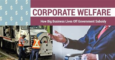 "image with title ""Corporate Welfare"" and the subtitle, ""How Big Business Lives Off Government Monopolies"""