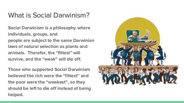 meme that outlines the predatory capitalist tenets of Social Darwinism