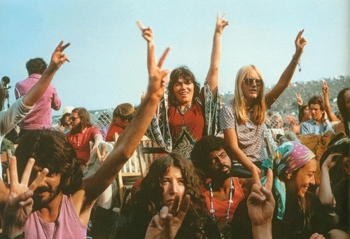 photo of concertgoers at the 1969 Woodstock Music Festival in New York