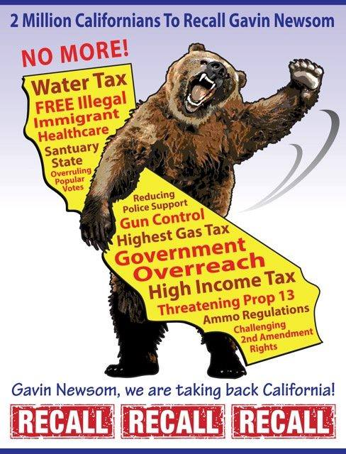 far Right meme calling for the distribution of a petition to recall the governor of the state of California, Gavin Newsom