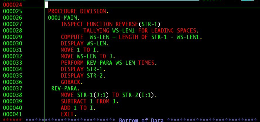 image of sample COBOL programming code as seen on an actual CRT screen