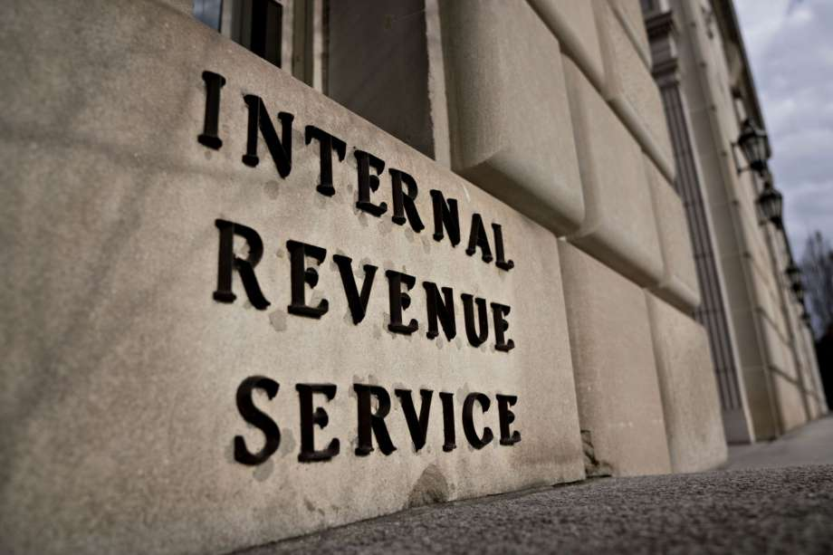 photo image of lettering on one side of the Internal Revenue Service in Washington D.C.