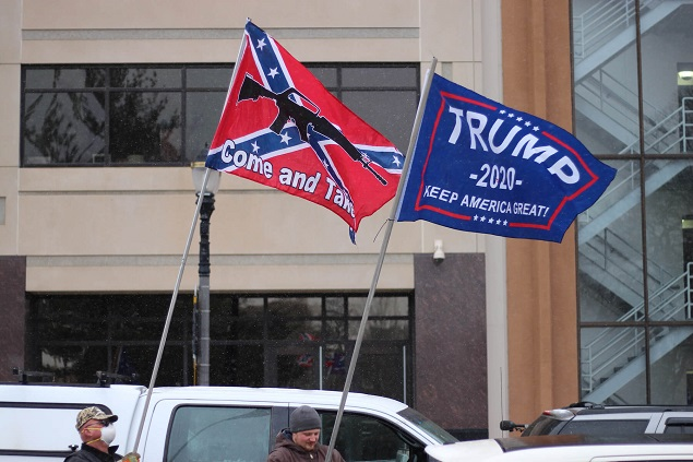 Michigan protesters with Trump and Confederate flags