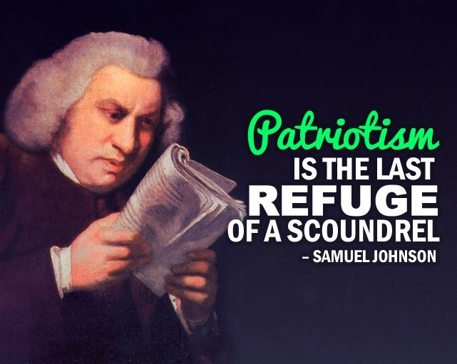 "illustrated meme of Samuel Johnson and his famous quotation that, ""Patriotism is the last refuge of a scoundrel."""