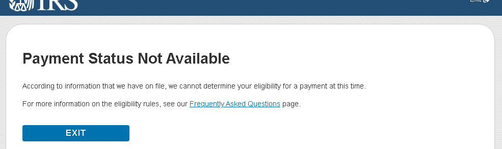 "screenshot from IRS ""Get My Payment"" portal, showing the advisory that ""Payment Status Not Available"""