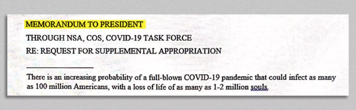 Title section of the January memo on the potential risk of COVID-19
