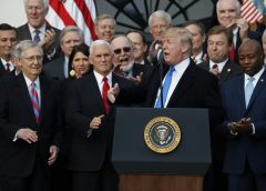 photo of president Donald Trump and the GOP Senate caucus