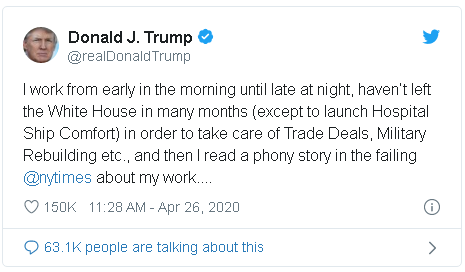Trump tweet in which he defends his personal work ethic and routine in the White House