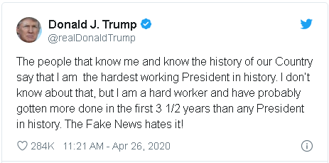 3rd Trump tweet in which he defends his personal work ethic and routine in the White House