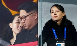 side by side pictures of kim yo jong smiling at her brother and of her at the Winter Olympics