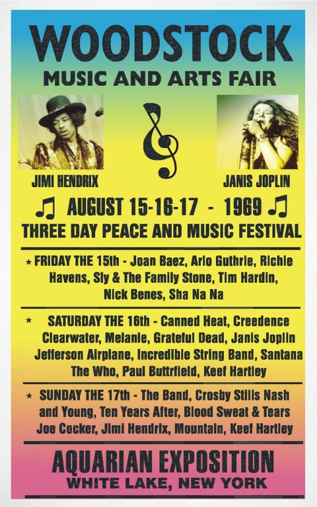 an original promotional poster for the 1969 Woodstock Music Festival held in Bethel, New York
