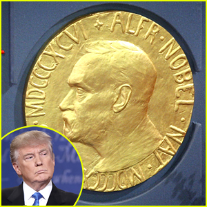 image of Donald Trump in cameo with actual Nobel Peace Prize in background