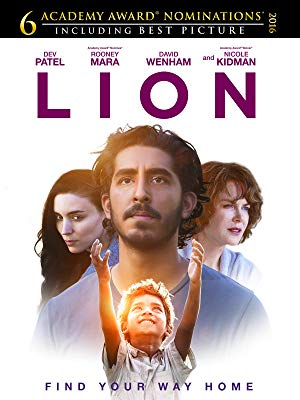 "image of original promotional graphic for the Academy Award nominated 2016 film ""Lion"" starring Dev Patel and Nicole Kidman"
