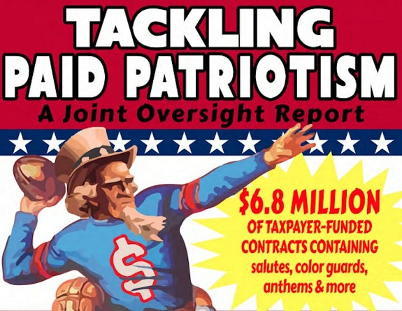 "the illustrated cover page of a Senate report authored by the late Senator John McCain and fellow Arizona Senator, Jeff Flake, titled, ""Tackling Paid Patriotism"""