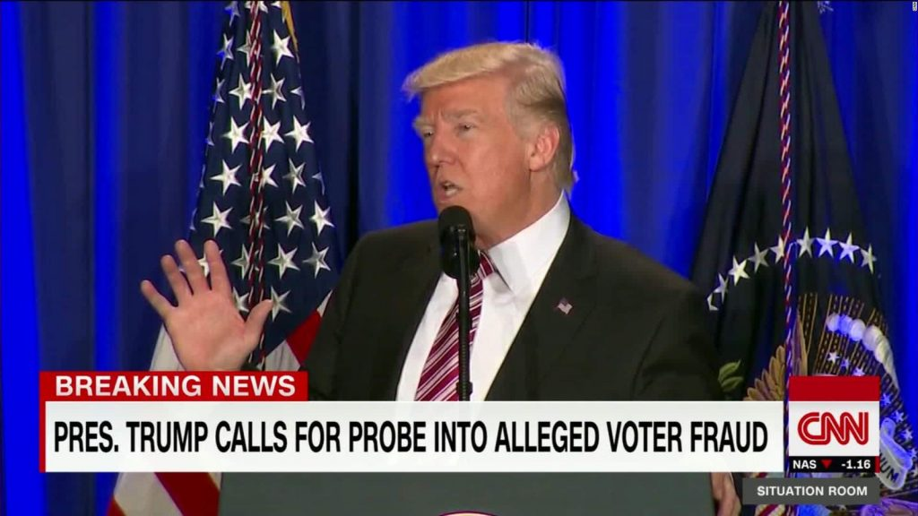"screenshot of CNN report with Trump speaking and the crawl below, ""Pres. Trump calls for probe in voter fraud"""