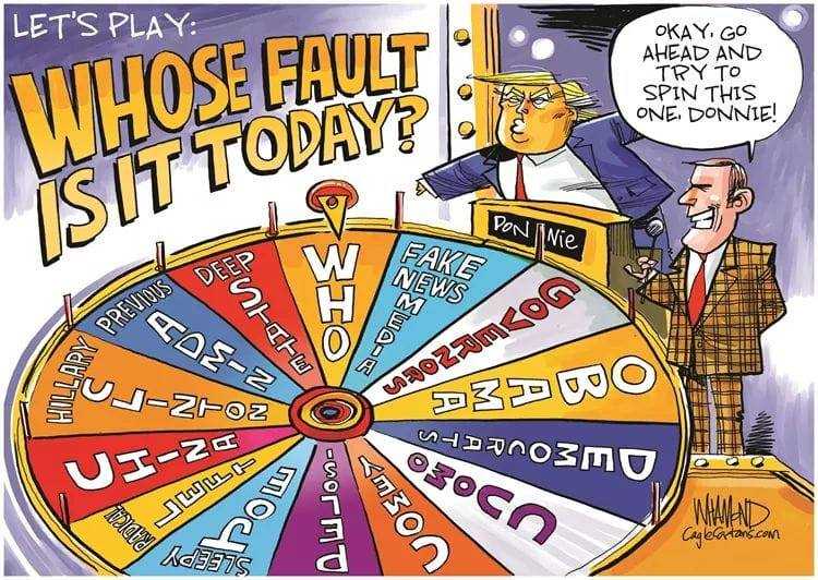 """political cartoon showing Donald Trump spinning a """"Wheel of Denial"""" in order to choose who to blame for the various catastrophes he has presided over - instead of himself."""