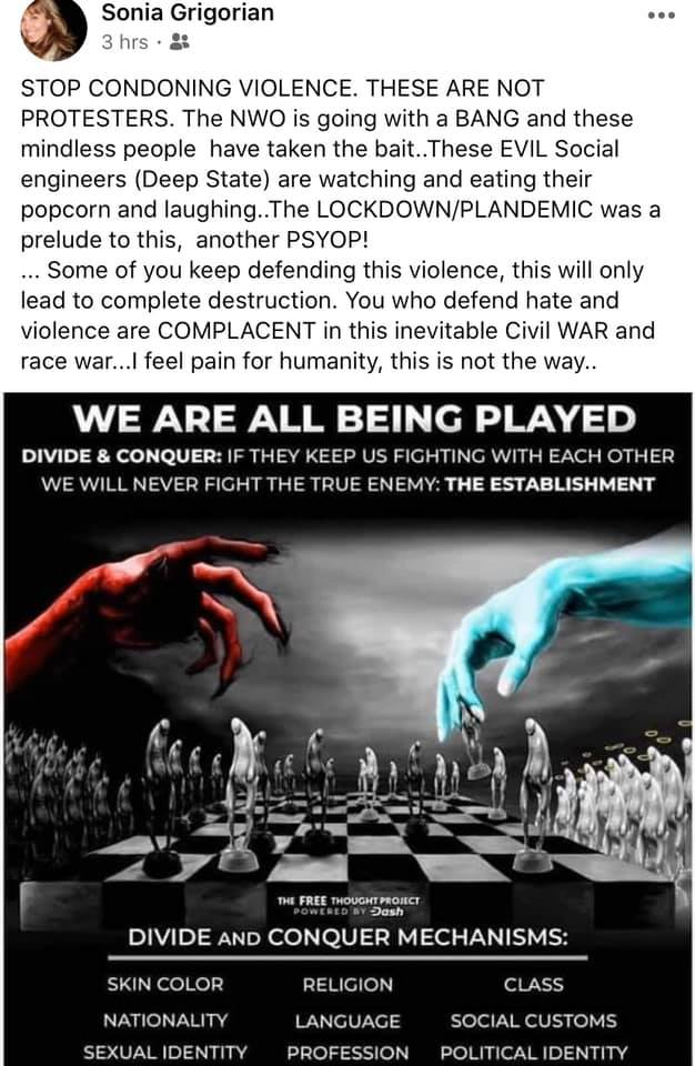 Conspiracy theory meme about globalism and a plot involving the COVID-19 pandemic that was posted on Facebook.