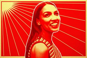 pop art colorized image of progressive leader, Democrat Congresswoman from New York, Alexandria Ocasio Cortez