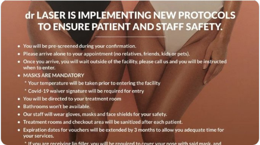 "advertisement of ""Dr. Laser"" beauty clinic advising customers of coronavirus safety policies"