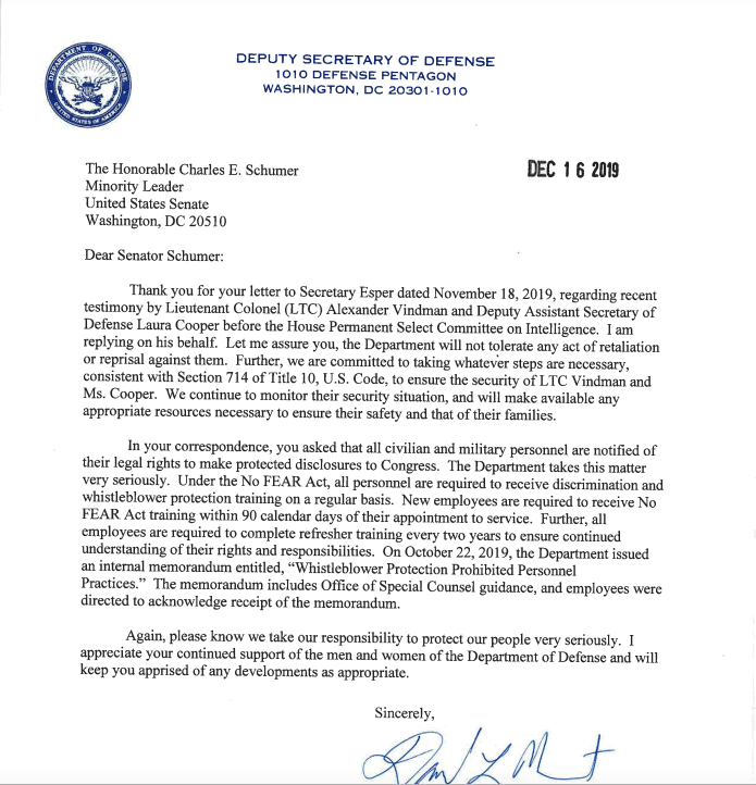 Letter-to-Senator-Schumer-from-Pentagon-re-Col. Alexander Vindman-status.