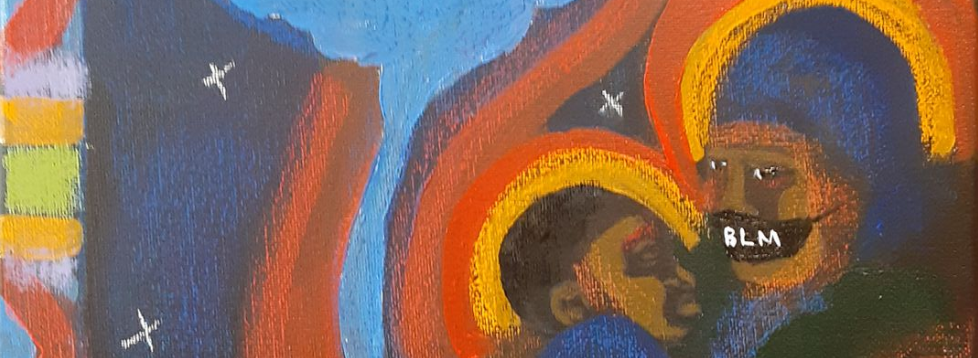 """Painting, """"MAMA"""" in earth tones, with a George Floyd theme, by Marcelete Blackwell Elter"""
