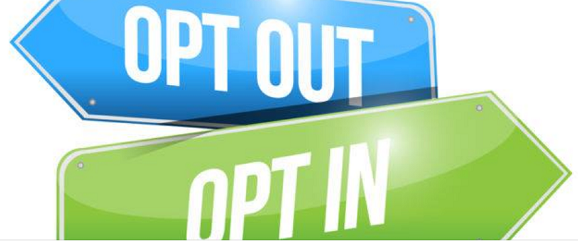 "image of two directional signs - ""Opt Out"" and ""Opt In"""