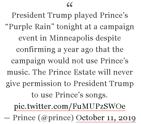 Meme with statement from the estate of the late pop superstar Prince, announcing its disapproval of the Trump campaign's use of Prince's music.