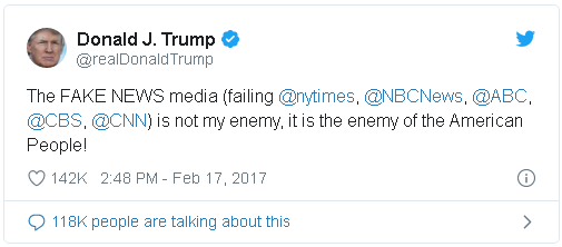 "One of countless Donald Trump tweets, this one from February of 2017, in which he calls the U.S. news media ""the enemy of the American people."""