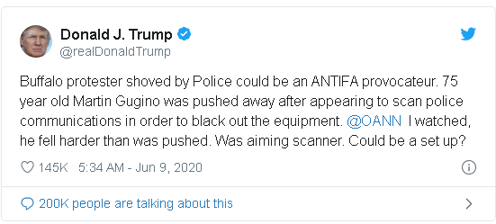tweet in which Trump accuses the 75 year old victim of a violent assault by Buffalo New York police of being a member of Antifa.