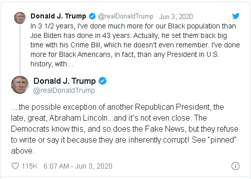 "Trump tweet blaming ""riots"" over George Floyd's death on Democrat presidential nominee, former Vice President, Joe Biden"