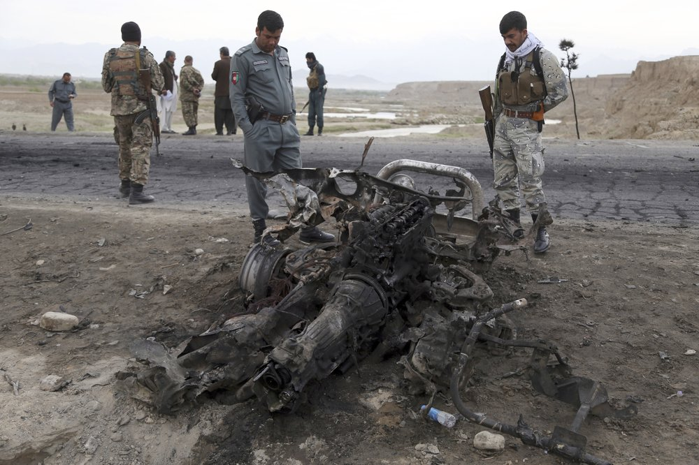 Wreckage of U.S. armored troop transport in Afghanistan in April 2019