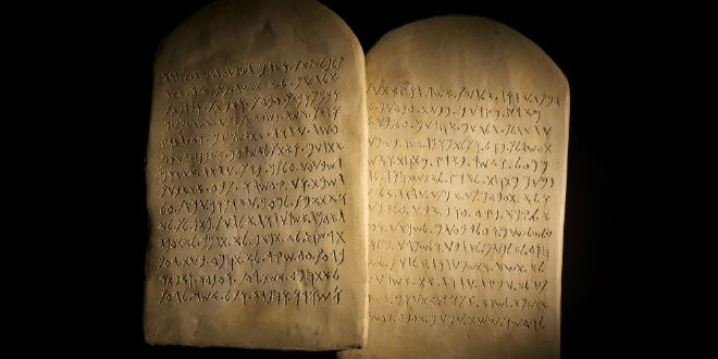 conceptual replicas of original stone tablets of the Old Testament Ten Commandments