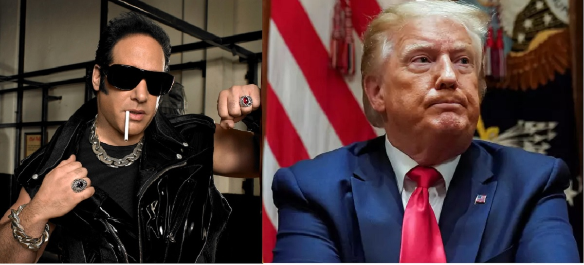 "montage of Andrew Dice Clay, the ""Diceman"" and Donald Trump"