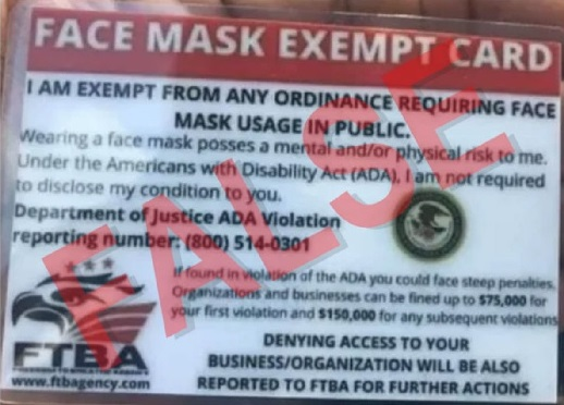 """Laminated card distributed by fake federal agency, """"FTBA"""" - Freedom To Breathe Agency"""" founder Lenka Koloma, purporting to exempt the holder of the card from city, county and state COVID-19 mask ordinances enacted to curb the spread of coronavirus."""