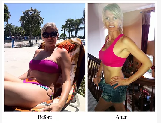 A promotional photo on Lenka Koloma's website supposedly depicting herself before and after applying the fitness and nutritional regimen she claims to have innovated.