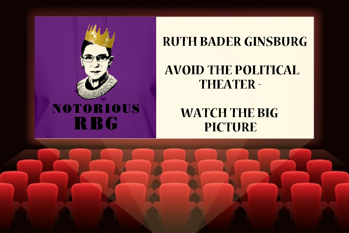 """Image of a cinema screen with the screen featuring the """"Notorious RBG"""" (Ruth Bader Ginsburg) Logo and the text """"Ruth Bader Ginsburg Avoid The Political Theater Watch The Big Picture"""""""