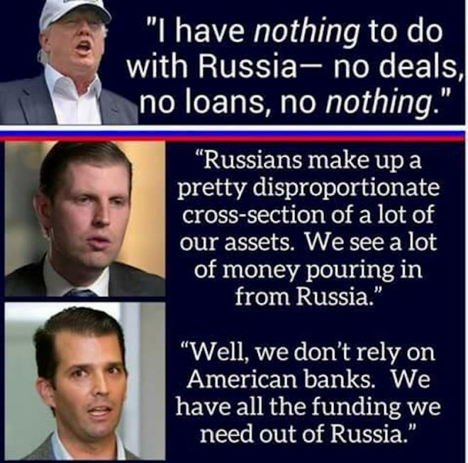 Meme showing quote from Donald Trump saying he has nothing to do with Russian money and below that quotes from Eric and Jr saying they do