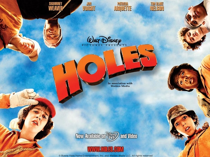 """movie promo art of Disney's """"Holes"""" with title and cast credits"""