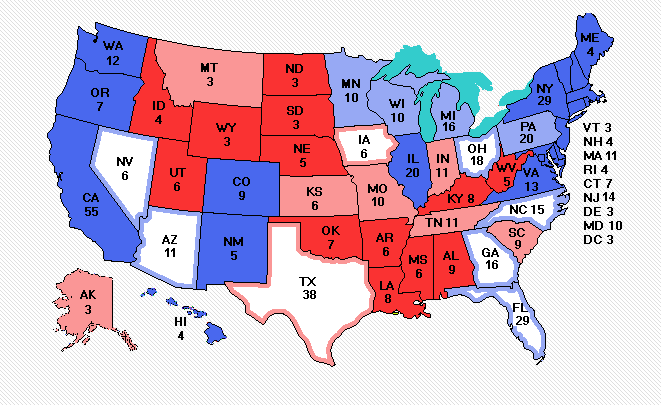 an Electoral Vote map of a projection on the 2020 U.S. presidential election from Electoral-Vote.com