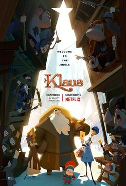 "Movie poster image of animated Christmas feature, ""Klaus"""