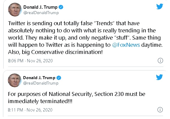 Trump tweet calling for Section 230 relating to media sanctions of false information