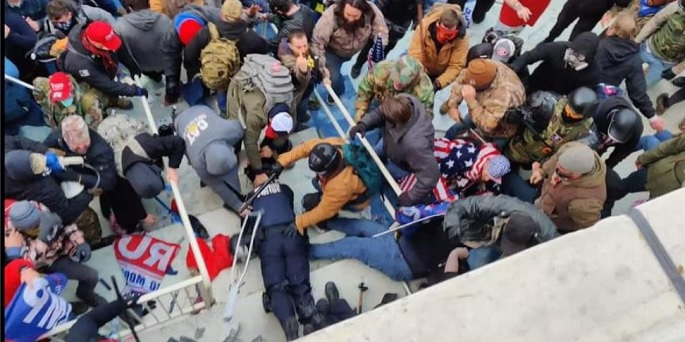 scene of violence from the attack on the Capitol on Jan 6, during which a Capitol police officer was brutally murdered