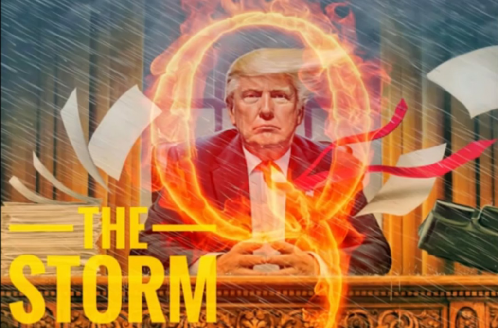 """Right wing QAnon conspiracy art titled, """"The Storm"""" and featuring an image of Donald Trump"""