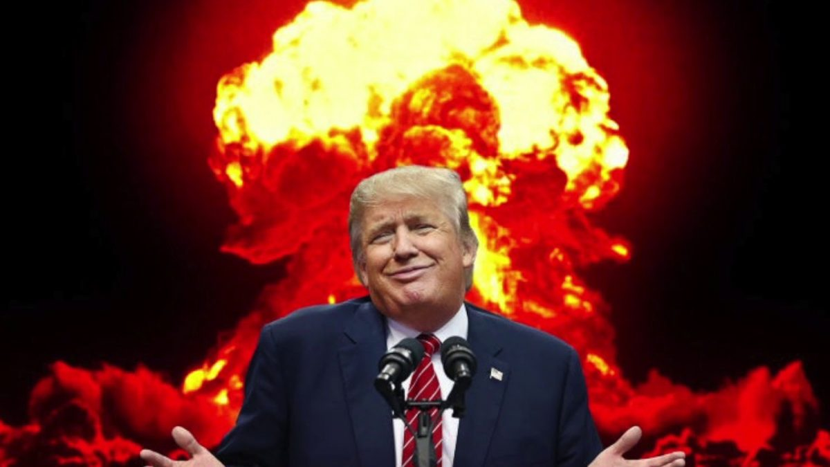 image of Donald Trump framed by a nuclear fireball in the background