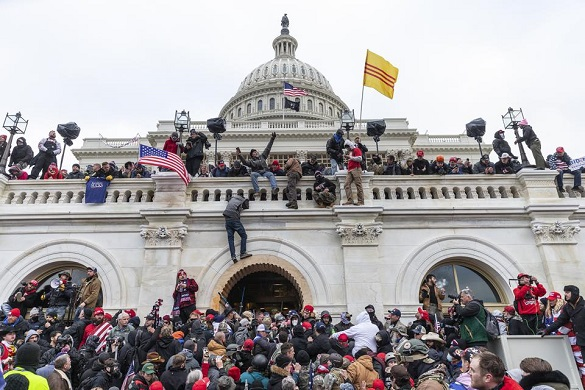 photo depicting the incursion and invasion of the U.S. Capitol on January 6, 2021 by rioting Trump supporters